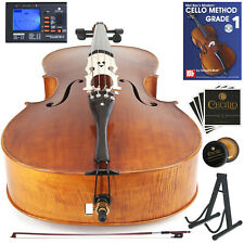 Cecilio CCO-600 Cello Ebony Fitted Oil-Rubbed Flamed Solid Wood, Full Size 4/4