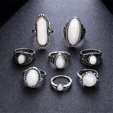 8 Pcs/set Rings Set Gemstone Fire Opal Ring Wedding Engagement Jewelry Retro