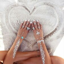 Set of 8 Boho Elephant Rings Animal Fashion Lover Turquoise Tibetan Silver UK