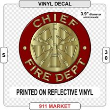 Chief Rank Decal Firefighter Fire Department FD Insignia Sticker Service    S 30