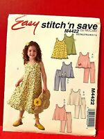 McCall/'s 4496 Girls Tops /& Pants UNCUT 6 Styles 6-7-8 Sewing Pattern