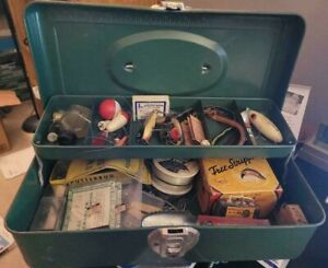 Vintage Fishing Tackle Box w/ Antique Lures, Reel, & More, Some Still In Boxes