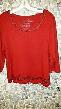 SALE! Onque Casuals red top w/stones & studs on neck & hemline woman's XL