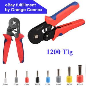 1200 teilig Set Crimpzange Aderendhülsen Kabelschuhe Zange 0,25-10mm² Presszange