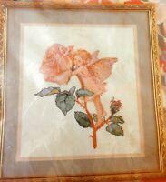 NIP 1990 Jessa Counts Pink Rose & Fairy Counted Cross Stitch Kit No 16246 Linen