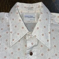 Vtg 60s 70s CAREER CLUB Dress Shirt Permanent Press Disco Big Collar MENS 15.5