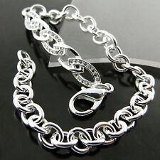 S/F Diamond Simulated Antique Design Bracelet Cuff Bangle 925 Sterling Silver