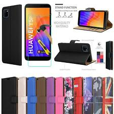 For Huawei Y5P Wallet Case, Magnetic Flip Leather Phone Cover + 9H Screen Glass