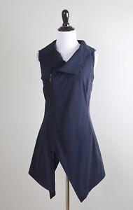 PORTO $288 Asymmetric Zip Front Cowl Neck Navy Vest Jacket Top Size 0 US XS