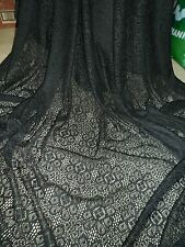 """BLACK CROCHET LACE  ONE WAY STRETCH    FABRIC 58"""" WIDE.. PRICE 1 MTR"""