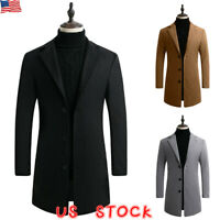 Mens Winter Trench Coat Single Breasted Warm Outwear Long Jacket Casual Overcoat