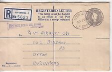 GB: QE2 2s 1d Embossed Registered Cover; Liverpool-Oxton, Birkenhead, 20 Jl 1965