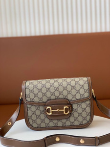 Brown GG Supreme Gucci 1955 Horsebit shoulder bag