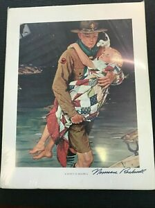 Signed Norman Rockwell Boy Scout Print A SCOUT IS HELPFUL 1941