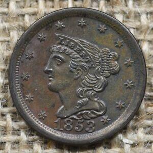 1853 1/2C UNC Braided Hair Head Half Cent