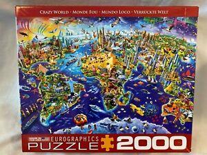 "Eurographics Crazy World Jigsaw 2000 39"" x 26"" Map Landmarks Africa America USA"