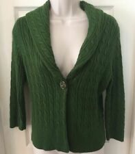 ANN TAYLOR LOFT PETITE GREEN HEAVY CHUNKY CABLE KNIT SWEATER CARDIGAN EUC SZ S