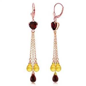 Garnet & Citrine Earrings In 14K Rose Gold (9.50 ct. tw