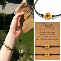Boho Sunflower 2Pcs/set Daisy Bracelet Friendship Couple Adjustable Women Gift