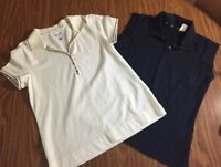 Women's Liz Golf Shirts SZ M Set Of 2 Blue Sleeveless White Is Dry Tech Polo Top