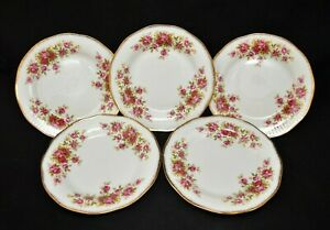 ELIZABETHAN BONE CHINA ENGLAND SET OF 5 DESSERT BREAD PLATES ROSES