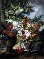Fountain, Urn and a Basket of Flowers Painting by Miguel Parra Abril Art Repro