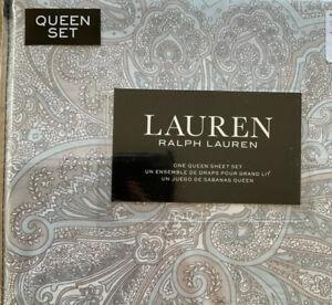 RALPH LAUREN paisley Queen SHEET SET Gray Taupe Blue Floral Cottage Chic Cotton