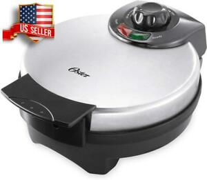 NONSTICK BELGIAN WAFFLE MAKER 8 INCH WITH ADJUSTABLE TEMPERATURE CONTROL SILVER