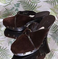 COLE HAAN BROWN SUEDE LEATHER MULES SLIDES DRESS HEELS SHOES US WOMENS SZ 6 B