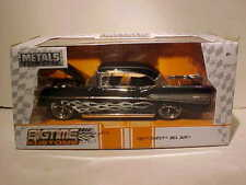 1957 Chevy Bel Air Diecast Car 1:24 Jada Toys 8 inch BLACK w Flames