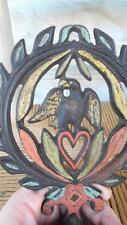 PRIMITIVE CAST IRON CANDLE HOLDER J.Z.H. handpainted EAGLE & HEART