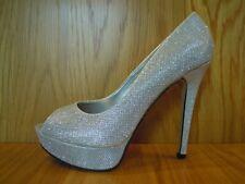 Plata Zapatos De Plataforma Stiletto Brillo Tacones Altos Peep Toe Señoras Tamaño 7 Nuevo