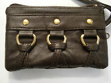 Soft Leather Ladies Matinee Purse Brown with Wrist Strap