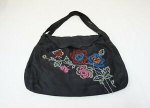 VTG 40's FLORAL BEADED PURSE BAG TOTE Black Satin Made by Hand