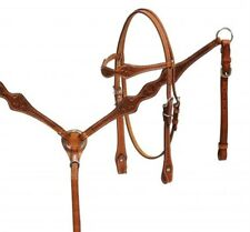 Showman MEDIUM OIL Argentina Leather Headstall and Breast Collar Set! HORSE TACK