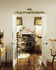 New SEASONS GREETINGS IVY WALL DECALS Christmas Stickers Holiday Decorations