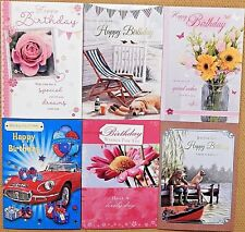 6 PACK OF ASSORTED MALE FEMALE LADIES MENS BIRTHDAY CARDS FLORAL FISHING CARDS