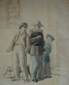 Ink drawing, Danish Golden Age c1850. Children, manner of Julius Friedlaender