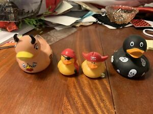 lot of 4 rubber duckies pirate tattoo skull goth ducky