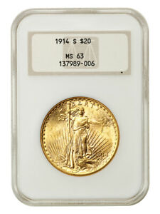 1914-S $20 NGC MS63 (OH) - Old NGC Holder - Old NGC Holder