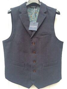 Mens Gurteen waistcoat with lapel BNWT - Navy Tweed - many sizes