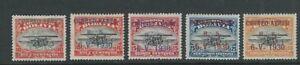 BOLIVIA 1930 CORREO AEREO 6-V-1930 overprints (C11-12, C14-16 5 values only) MLH