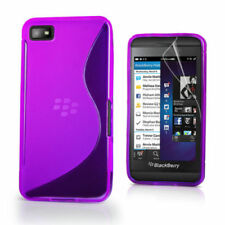 Purple S Line Wave Gel Case Cover for BlackBerry Z10 BB 10 + Screen Protector UK
