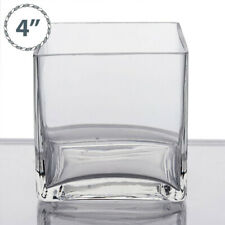 "12 pcs 4"" wide Clear Cube Glass Vases Wedding Party Centerpieces Dinner Supplies"