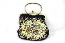 WALBORG Vintage Petit Point Tapestry Floral Baguette Kisslock Purse Bag Clutch