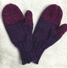 Handmade Handknit Medium/Large Adult Mittens Purples (Lot 921)