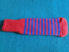 Knitted zebra style Fairway & Driver Golf Club head cover Red / Blue