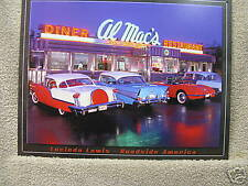 Al Mac DINER Tin Metal Sign Classic Cars Neon 50's NEW Auto Drive In