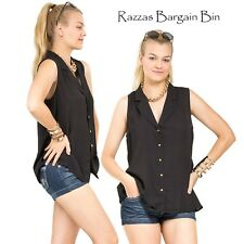 New Ladies Button Front Top With Open Back Plus Size 14/1XL (9878)MW