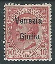 1918-19 VENEZIA GIULIA EFFIGIE 10 CENT MH * - P17